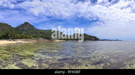 Stunning high resolution beach and landscape panorama taken on the paradise islands Seychelles - Stock Photo