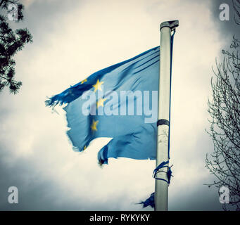 Torn European Flag - Stock Photo