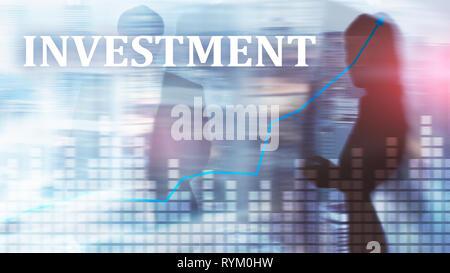 Investment, ROI, financial market concept. Mixed media . - Stock Photo