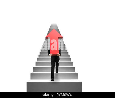 Businessman carrying big 3D red arrow sign and climbing on concrete stairs with white background - Stock Photo