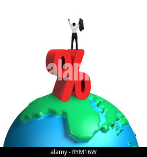 Cheering businessman standing on red percentage sign and 3d globe with white background - Stock Photo