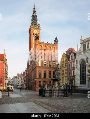 Neptune's fountain and Gdansk historical museum, Długi Targ, Gdansk, Poland - Stock Photo