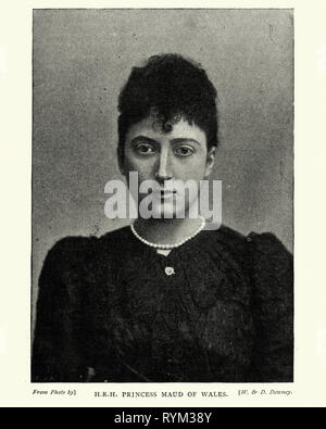 Vintage photograph of Princess Maud of Wales, was Queen of Norway as spouse of King Haakon VII. She was the youngest daughter of the British king Edward VII and Alexandra of Denmark. - Stock Photo