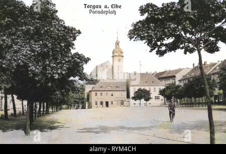 Urban squares, Marienkirche (Torgau), Buildings in Torgau, 1908, Landkreis Nordsachsen, Torgau, Paradeplatz, Germany - Stock Photo