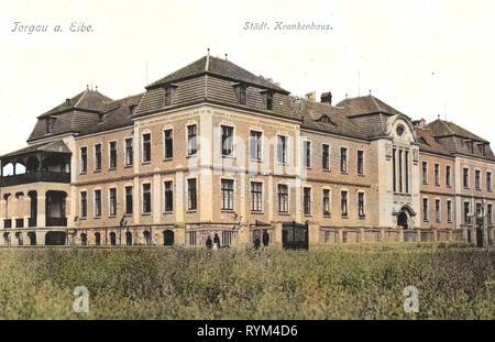 Hospitals in Saxony, Buildings in Torgau, 1908, Landkreis Nordsachsen, Torgau, Städtisches Krankenhaus, Germany - Stock Photo