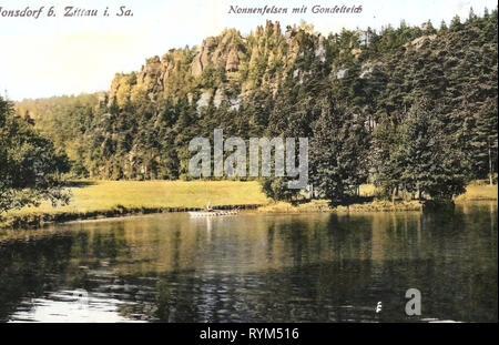 Ponds in Landkreis Görlitz, Nonnenfelsen (Zittauer Gebirge), 1919, Landkreis Görlitz, Jonsdorf, Nonnenfelsen mit Gondelteich, Germany - Stock Photo