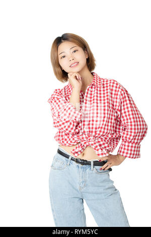 Beautiful Chinese American woman dressed in casual clothing isolated on white background - Stock Photo