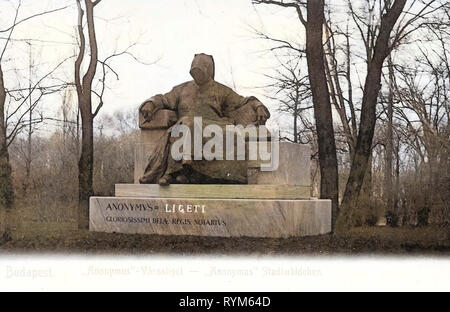 1903, Budapest, Statue of Anonymous, 1903 in Budapest, Anonymus Stadtwäldchen, Hungary - Stock Photo