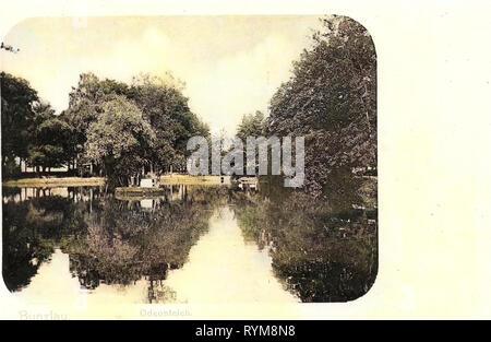 Ponds in Poland, Bolesławiec, 1903, Lower Silesian Voivodeship, Bunzlau, Odeonteich - Stock Photo