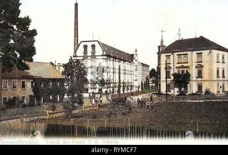 Buildings in Großröhrsdorf, Industry in Saxony, 1906, Landkreis Bautzen, Großröhrsdorf, Fabrik der Firma J. G. Schurig, Germany - Stock Photo