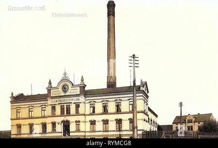 Industry in Saxony, Buildings in Großröhrsdorf, 1906, Landkreis Bautzen, Coal-fired power plants in Germany, Großröhrsdorf, Elektrizitätswerk - Stock Photo