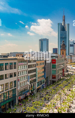 Nice aerial view of the western end of the Zeil with the St. Catherine's Church  in Frankfurt, the famous and busiest shopping street in Germany. In... - Stock Photo