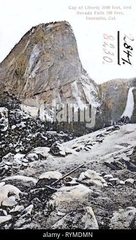 Texts, Liberty Cap (Yosemite National Park), Nevada Fall, 1906, California, Yosemite, Cap of Liberty and Nevada Falls', United States of America - Stock Photo