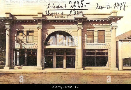 Buildings in Eugene, Oregon, 1906, Eugene, Ore., The Eugene Commercial Club', United States of America - Stock Photo