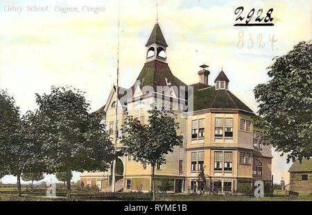 Schools in Oregon, Buildings in Eugene, Oregon, 1906, Eugene, Ore., Geary School', United States of America - Stock Photo
