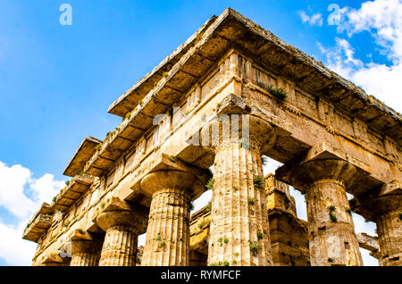Detail of Hera II Temple, also called the Temple of Neptune, is a Greek temple in Paestum, Italy - Stock Photo