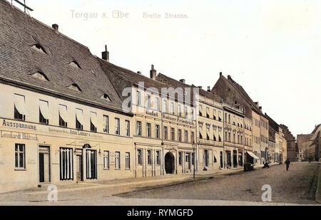 Buildings in Torgau, 1908, Landkreis Nordsachsen, Torgau, Breite Straße, Germany - Stock Photo