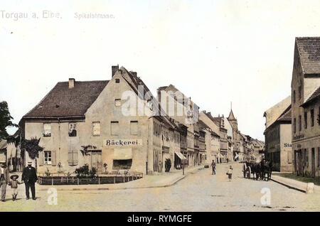Buildings in Torgau, Bakeries in Saxony, 1908, Landkreis Nordsachsen, Torgau, Spital, Straße, Germany - Stock Photo