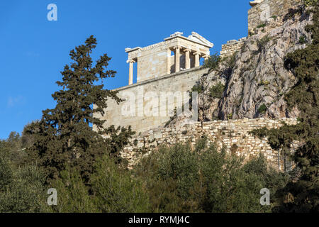 Ruins of Monumental gateway Propylaea in the Acropolis of Athens, Attica, Greece - Stock Photo
