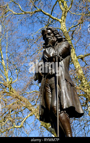 The statue of Edward colston in Bristol Center. a contentious figure because of his philanphropy and link to the slave trade. - Stock Photo