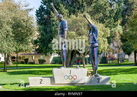 SAN JOSE, CA/USA - OCTOBER 21, 2018: Tommie Smith and John Carlos statue on the campus of San Jose State University. - Stock Photo
