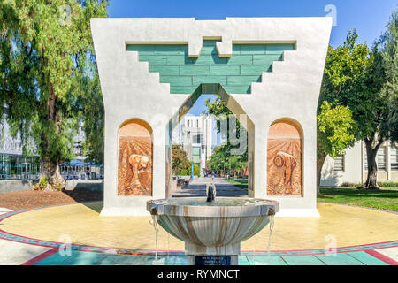 SAN JOSE, CA/USA - OCTOBER 21, 2018: Silva Family Fountain and Cesar Chavez Monument on the campus of San Jose State University. - Stock Photo