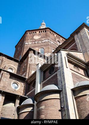 Travel to Italy - view of Duomo di Pavia (Cathedral of Pavia, Cattedrale di Santo Stefano Martire e Santa Maria Assunta) from street Via dei Liguri in - Stock Photo