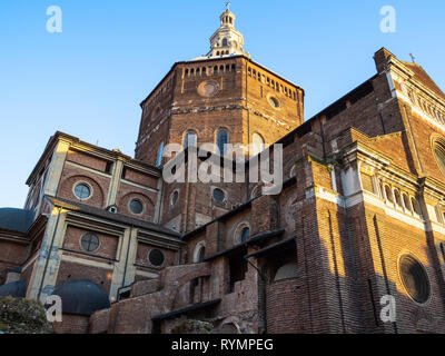 Travel to Italy - view of Duomo di Pavia (Cathedral of Pavia, Cattedrale di Santo Stefano Martire e Santa Maria Assunta) from street Via Jacopo Bossol - Stock Photo