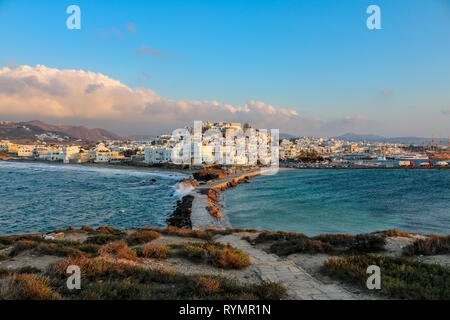 Naxos City seen from the Portara of Naxos on a stormy evening, Greece