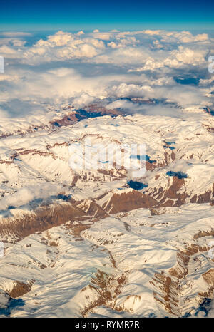 Somewhere above Afghanistan, close to Kabul. It was taken from an airplane. - Stock Photo