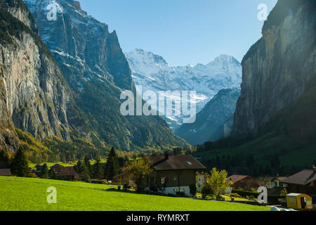 Autumn afternoon at Lauterbrunnen Valley in the Swiss Alps. - Stock Photo