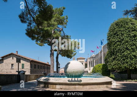 SAN MARINO, REPUBLIC OF SAN MARINO - 6 AUGUST 2018: Ball fountain. Liberta fountain donated as a gift by the people of America, San Marino - Stock Photo