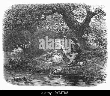 On his way to a case, Doctor Gerrit Witse, sees a youthful couple beside a country stream.  The graceful young woman, on the grass held a cheerful curly ball on her lap, which laughed at the bubbles of water and foam craters; the youthful man, with a smile on his lips, looked at mother and son in turn.  From the Camera Obscura, a 19th Century collection of Dutch humorous-realistic essays, stories and sketches in which Hildebrand, the author, takes an ironic look at the behavior of the 'well-to-do', finding  them bourgeois and without a good word for them. - Stock Photo