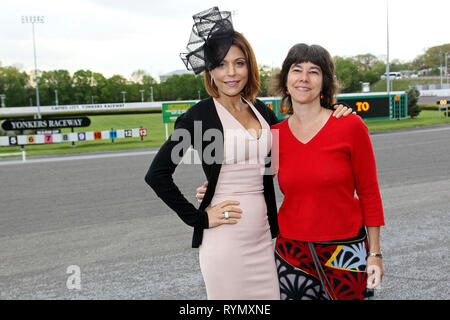 Yonkers, NY - March 14 2019:  Bethenny Frankel, with New York Post Reporter, and Hat Judge, Lisa Fickenscher at The Saturday, May 7, 2016 Kentucky Derby Day at Empire City Casino in Yonkers, NY. (Photo by Steve Mack/S.D. Mack Pictures/Alamy) - Stock Photo