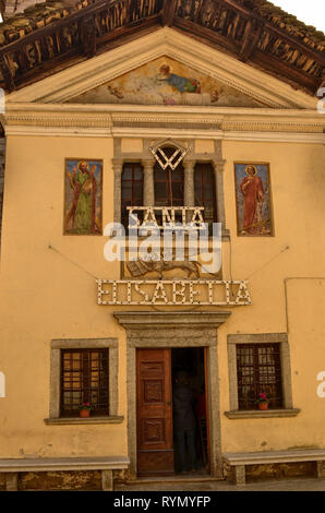 Mergozzo, Piedmont, Italy. March 2019. On the hill near the lake the village is one of the most beautiful villages in Italy. The facade of the church  - Stock Photo