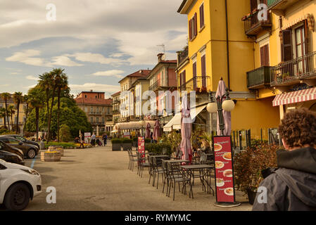 Verbania, Piedmont, Italy. March 2019. On the lakeside bar, ice cream parlors, restaurants offer refreshment to tourists during their visit. From thes - Stock Photo
