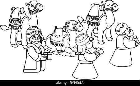 manger cartoon wise king christmas celebration, outline ...