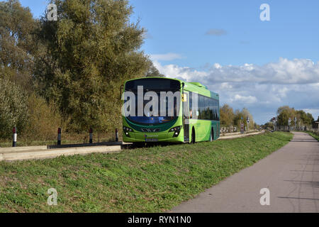 Stagecoach / Guided busway St.ives / Wright bus eclipse / Moving at Speed / single deck - Stock Photo