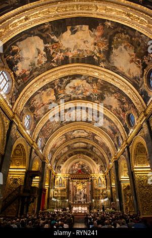 Mattia Preti interior at Saint Johns Co-Cathedral, Valletta, Malta - Stock Photo
