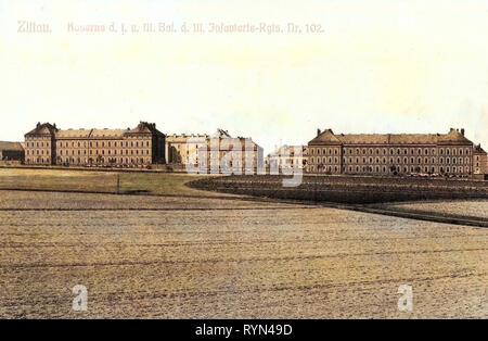 Military facilities of Germany, Infanterie-Regiment König Ludwig III. von Bayern (3. Königlich Sächsisches) Nr. 102, 1904, Landkreis Görlitz, Zittau, Kaserne des I. und III. Bataillon des III. Infanterie Regiments Nr. 102 - Stock Photo