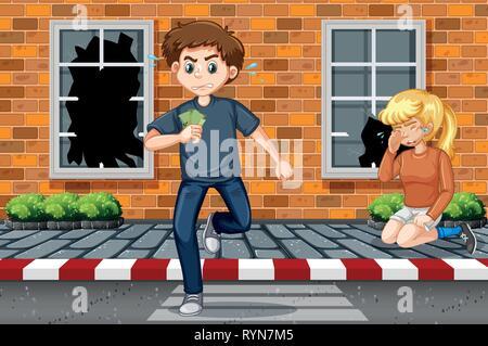 Man stealing money scene illustration - Stock Photo