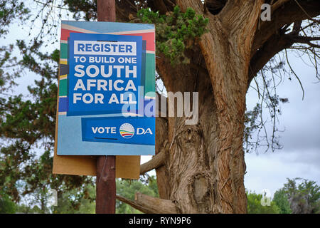 South African election poster for the May 2019 election for the Democratic Alliance, urging to Register to builld country for all - Stock Photo