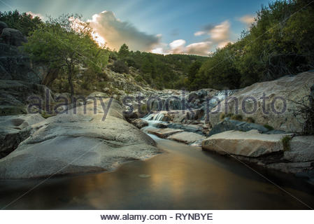 Rapids of the Manzanares river in Madrid,Spain - Stock Photo