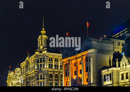 SHANGHAI, CHINA, DECEMBER - 2018 - Urban night scene at famous buildings of the bund zone in shanghai city, china - Stock Photo