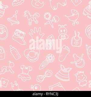 Seamless pattern of children toys and various children elements in pink. The pattern consists of linear children icons. - Stock Photo