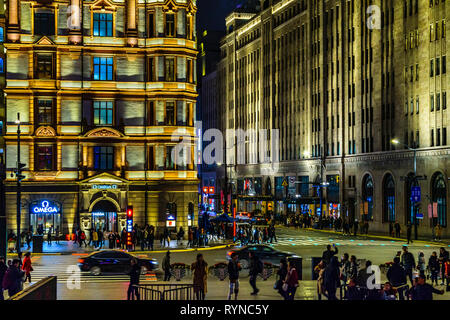 SHANGHAI, CHINA, DECEMBER - 2018 - Urban night scene at famous the bund zone in shanghai city, china - Stock Photo
