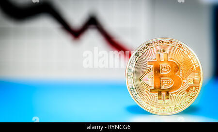 cryptocurrency, virtual currency, bitcoin with graphic in background - Stock Photo