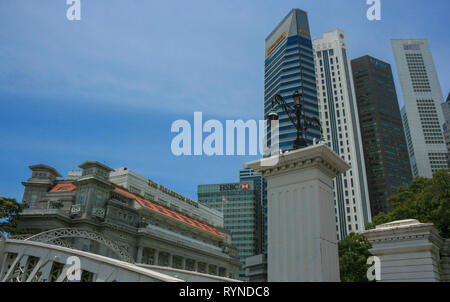 View towards Raffles Place from Anderson Bridge, Boat Quay, Singapore - Stock Photo