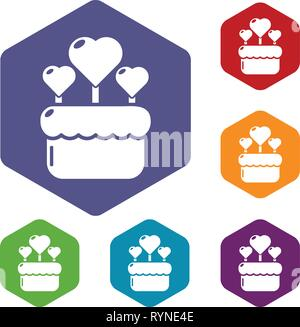 Wedding cake icons vector hexahedron - Stock Photo