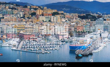 GENOA, ITALY - NOVEMBER 04, 2018 - Aerial panoramic view of the historic centre and the port of the city - Stock Photo